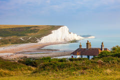 Seven Sisters Chalk cliffs from Seaford Head. The Seven Sisters Chalk cliffs and the coastguard cottages, from Seaford Head South Downs East Sussex England UK stock photos