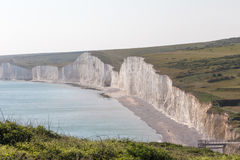 Seven Sisters Chalk cliffs in Sussex. Stock Photo