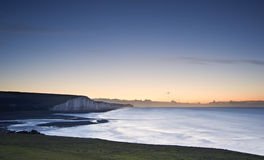 Seven Sisters chalk cliffs Winter sunrise Stock Photography