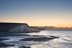 Seven Sisters chalk cliffs Winter sunrise Royalty Free Stock Photos