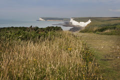 Seven sisters cliffs at English chanel coast, East Susex, Englan Royalty Free Stock Image