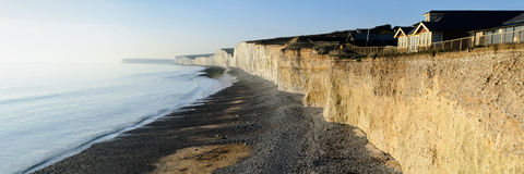 Seven Sisters cliffs panorama, UK Stock Image