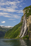 The Seven Sisters in geirangerfjord Stock Photo