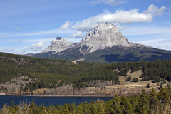 Seven Sisters Mountain and Crowsnest Mountain Royalty Free Stock Photography
