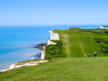 Seven Sisters National Park, East Sussex, England. Seven Sisters National Park, view of the cliffs and the beach, East Sussex, England royalty free stock photos