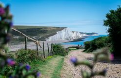 Free Seven Sisters National Park, White Cliffs,beach,ocean East Sussex, England Stock Photo - 191934830