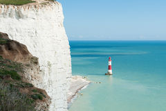 Seven Sisters National park, white cliffs, Beachy Head lighthouse, East Sussex, England Royalty Free Stock Photo