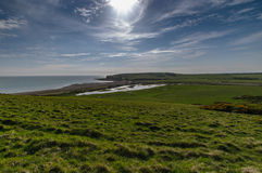 Seven sisters park. Blue sky and green grass fields at seven sisters national park Stock Photos