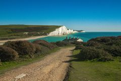 Seven sisters rock hills England. UK countryside and ocean showing the sevens sisters hills Stock Photos