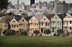 The seven sisters in San Francisco. The painted ladies in San Francisco Stock Images