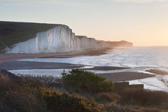 Seven Sisters sunrsie viewed from Seaford Head Royalty Free Stock Photos