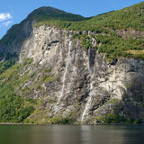 Seven sisters waterfall at Geiranger fjord stock photo