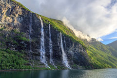 Seven Sisters Waterfall in the Geiranger Fjord Royalty Free Stock Images