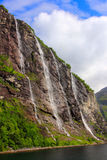 Seven sisters waterfall - geirangerfjord, norway Royalty Free Stock Images