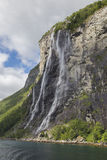The Seven Sisters waterfall. Located along the Geirangerfjorden in Norway Stock Images