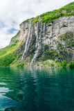Seven sisters waterfall. Waterfalls at Geiranger fjord Norway Stock Photos