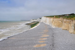 Seven Sisters White Chalk Cliffs at Birling Gap Beach Royalty Free Stock Image