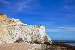 Seven Sisters white chalk cliffs near Seaford East Sussex South royalty free stock images