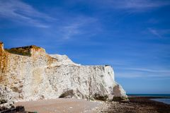 Seven Sisters white chalk cliffs near Seaford East Sussex South royalty free stock photo