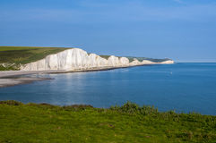 Seven Sisters white cliffs south on the UK. View of the Seven Sisters white cliffs country park at the coast of the Great Britain. Sea, nature, amazing views on stock image