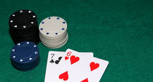 Seven and six in poker Royalty Free Stock Photos