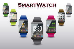 Seven Smart Watches with Different Functions Stock Images