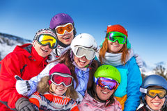 Seven smiling friends wearing goggles Royalty Free Stock Photography