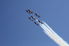 Seven Snowbirds in formation Stock Photo