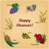 Seven Species of the Shavuot, set with inscription. Seven Species of the Shavuot, set of agricultural products with inscription on Jewish holiday. Vector Stock Photos