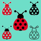 Seven spot ladybird icons Royalty Free Stock Images