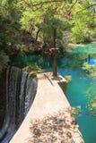 Seven Springs - waterfalls, shlyuzy.Ostrov Rhodes. Greece Stock Images