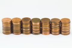 Seven stacks of American cents Royalty Free Stock Images