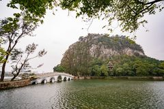 Seven star bridge, mountains around Seven-star Crags Scenic Area. At Zhaoqing, China royalty free stock photos