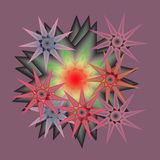 SEVEN STAR MANDALA, GREEN PINK, YELLOW AND LIGNT GREEN, PLANE PURPLE BACKGROUND,9 POINT STARS royalty free illustration