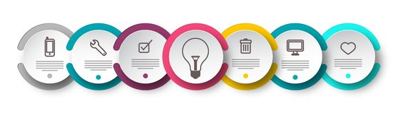 Seven Steps Infographic Design with Icons. On Circle Labels, Sample Text and Lightbulb. Data Flow Chart Vector Layout vector illustration