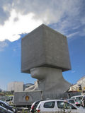 Seven storied building cube shaped as human head. Nice, France - December 06, 2005: Square Head - a seven storied building cube shaped as human head sculpture in Stock Images