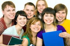 Seven students Stock Photography