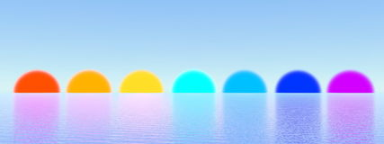 Sunsets as chakras - 3D render Royalty Free Stock Image