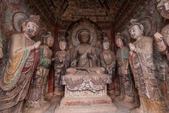 Seven temples Buddha Grottoes in Tianshui Maijishan Royalty Free Stock Photos