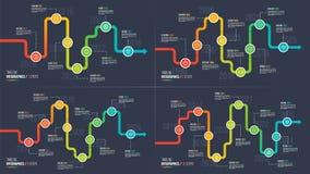 Seven-ten fait un pas les diagrammes infographic de chronologie ou d'étape importante Images stock