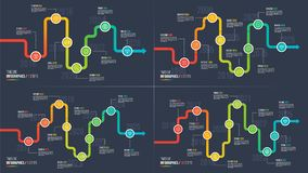 Seven-ten steps timeline or milestone infographic charts. 7-10 options vector template for presentations, data visualization, layouts, annual reports, web Stock Images