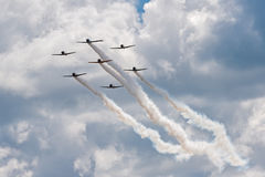 Seven AT-6 Texans in Close Formation Royalty Free Stock Photo