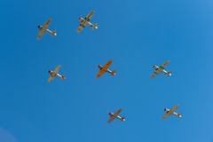Seven AT-6 Texans Fly Overhead Royalty Free Stock Photo