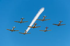 Seven AT-6 Texans With Single Smoke Trail Royalty Free Stock Image