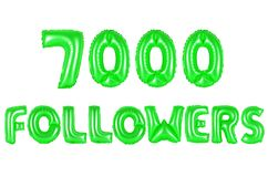 Seven thousand followers, green color Stock Image
