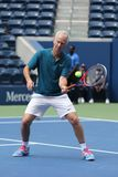Seven times Grand Slam Champion John McEnroe in action during 2018 US Open exhibition match at newly open Louis Armstrong Stadium. NEW YORK - AUGUST 22, 2018 stock image