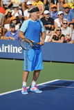Seven times Grand Slam champion John McEnroe during US Open 2014 champions exhibition match Royalty Free Stock Images