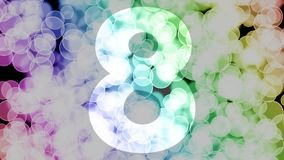 Seven to eight years birthday fade in/out animation with color gradient moving bokeh background.