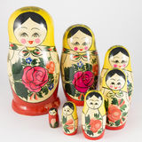 Seven traditional Russian nesting dolls descending spiral Royalty Free Stock Photo