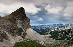 Seven Triglav Lakes Valley under storm clouds, Julian Alps. View of Seven Triglav Lakes Valley from the sharp Velika Zelnarica to the Krn peaks, under storm Stock Images